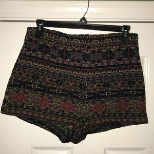 Urban Outfitters black print brocade shorts